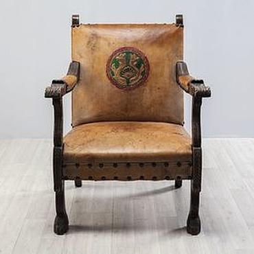 Для дома и интерьера ручной работы. Ярмарка Мастеров - ручная работа Антикварное кожаное кресло. Handmade.