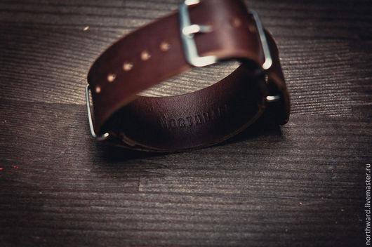 Браслеты ручной работы. Ярмарка Мастеров - ручная работа. Купить Кожаный ремешок для часов NATO 22mm. Handmade. Натуральная кожа
