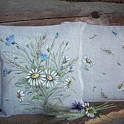 Pillow handmade. Livemaster - original item Linen pillows with painted Daisy cornflower.... Handmade.