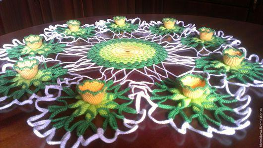 """Текстиль, ковры ручной работы. Ярмарка Мастеров - ручная работа. Купить Салфетка """"Кувшинки"""". Handmade. Вязаный, Салфетка вязаная"""