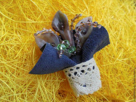 Брошь из камней и кожи Маленький Прованс  La Petite Provence