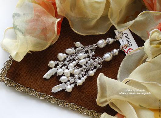 Серьги Белая Черемуха. длинные серьги, серьги с жемчугом, жемчужные серьги,  ollika handmade, ollika Ольга Дмитриева