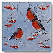 Картины и панно handmade. Livemaster - original item Painting with birds bullfinch Winter landscape Rowan. Handmade.