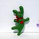 заяц танцующий зеленый весенний. брелок