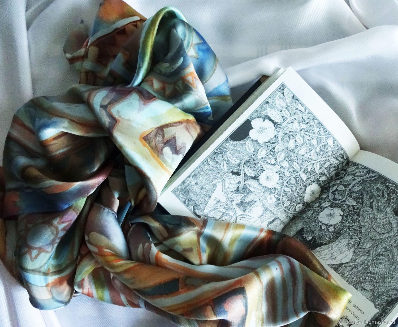Batik, silk handkerchief ' Mechanics', Shawls1, Moscow,  Фото №1