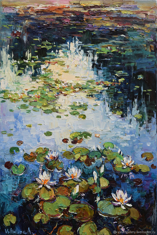 Water Lilies Original Oil Painting 60 X 90 Cm Shop
