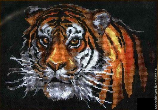 """Животные ручной работы. Ярмарка Мастеров - ручная работа. Купить """"Тигр"""". Handmade. Вышивка крестом, счетный крест, ручная вышивка"""