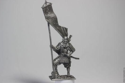 Статуэтки ручной работы. Ярмарка Мастеров - ручная работа. Купить Воин,оловянный солдатик,асигару,знаменосец. Handmade. Воин, фигурка