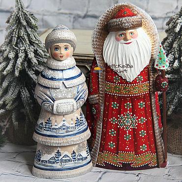Сувениры и подарки ручной работы. Ярмарка Мастеров - ручная работа Дед мороз и снегурочка пара № 47 (деревянные, расписные). Handmade.