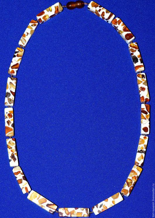 Колье, бусы ручной работы. Ярмарка Мастеров - ручная работа. Купить Бусы-мозаика из натурального янтаря.. Handmade. Разноцветный
