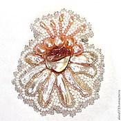 Украшения handmade. Livemaster - original item Brooch beaded with pearls and mother of pearl White Flower. Handmade.