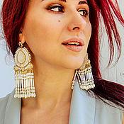 handmade. Livemaster - original item Classic Tamilina Earrings. Soutache earrings. White Gold. Handmade.