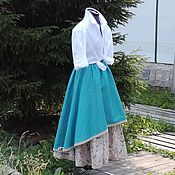 Одежда ручной работы. Ярмарка Мастеров - ручная работа №171.1 Длинная льняная бохо-юбка. Handmade.