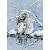 """Картины и панно ручной работы. Ярмарка Мастеров - ручная работа Принт """"Морозные травы"""" Воробьиный сычик. Handmade."""