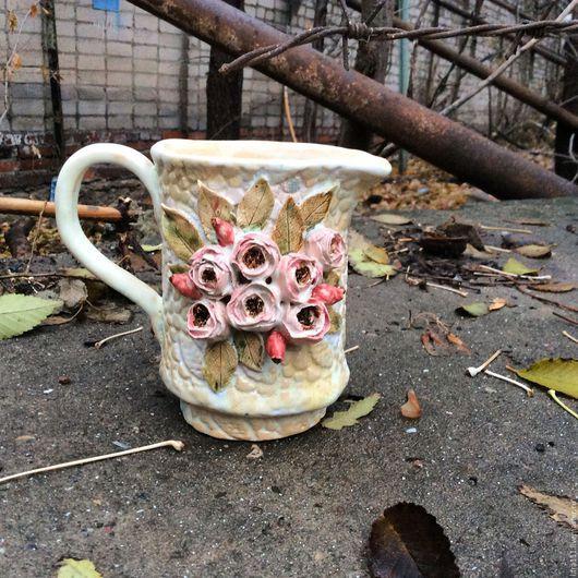 Графины, кувшины ручной работы. Ярмарка Мастеров - ручная работа. Купить Молочник  розы. Handmade. Бежевый, молочник, цветы, посуда