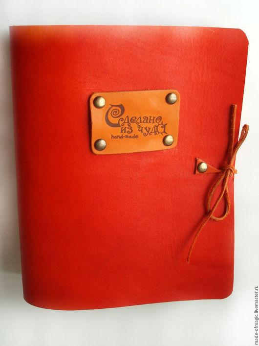 Записные книжки ручной работы. Ярмарка Мастеров - ручная работа. Купить Кожаная оранжевая тетрадь на кольцах. Handmade. Рыжий, оранжевый