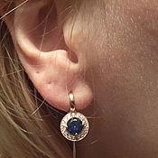 Винтаж handmade. Livemaster - original item Earrings SPINEL BLUE gold, silver, cubic Zirconia, USSR.. Handmade.