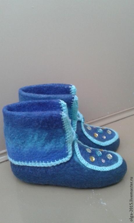 Обувь ручной работы. Ярмарка Мастеров - ручная работа. Купить Домашние валенки-чуни. Handmade. Разноцветный, валенки для дома