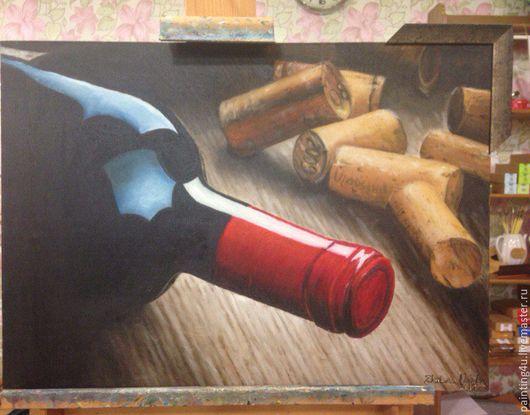 Натюрморт ручной работы. Ярмарка Мастеров - ручная работа. Купить Вино и пробки. Handmade. Бордовый, вино, для кухни, натюрморт, масло