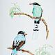 Зеленые сороки.  Серия Сороки, акварель, размер А4 (21х30 см), Светлана Маркина, LechuzaS