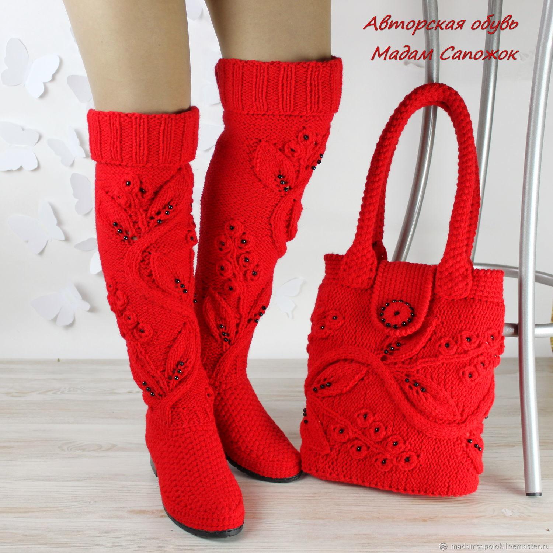 f6e705190 Обувь ручной работы. Ярмарка Мастеров - ручная работа. Купить Красные  Сапоги и Сумка комплект ...