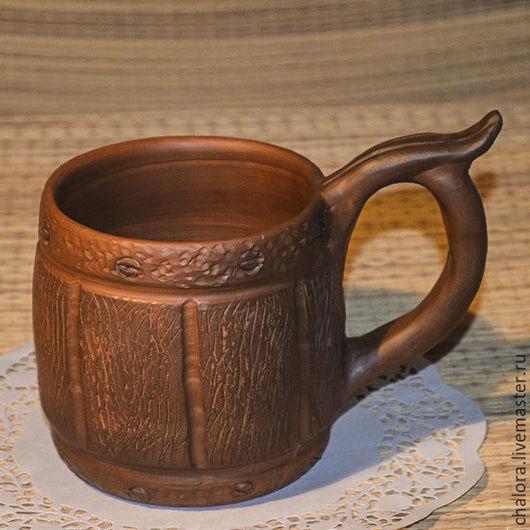 Пивная керамическая кружка `Бочонок`
