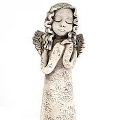 Для дома и интерьера ручной работы. Ярмарка Мастеров - ручная работа Статуэтка ангела из белой глины. Handmade.