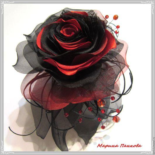 черная роза, черный, черная брошь, купить брошь, в подарок, готическая брошь. Цена 1000руб