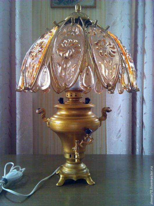 Освещение ручной работы. Ярмарка Мастеров - ручная работа. Купить Настольная лампа-самовар. Handmade. Золотой, светильник, стеклянный, самовар