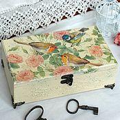 Для дома и интерьера handmade. Livemaster - original item Big box of solid pine cream birdsong. Handmade.