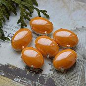 Материалы для творчества handmade. Livemaster - original item Pearl rhinestones Tangerine 13h18 mm oval. Handmade.
