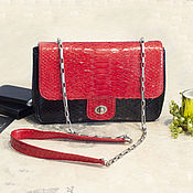 Сумки и аксессуары handmade. Livemaster - original item Python skin bag Black & Red. Handmade.