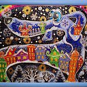 """Картины и панно ручной работы. Ярмарка Мастеров - ручная работа Декоративное панно """"Зимний Пёс"""". Handmade."""