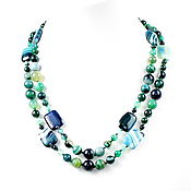 Работы для детей, handmade. Livemaster - original item Long beads natural green agate. Handmade.