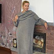 Одежда ручной работы. Ярмарка Мастеров - ручная работа Платье-свитер серый меланж с аксессуарами. Handmade.