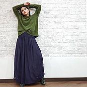 Одежда ручной работы. Ярмарка Мастеров - ручная работа Юбка в пол зимняя из шерсти чернильного цвета, теплая длинная юбка. Handmade.