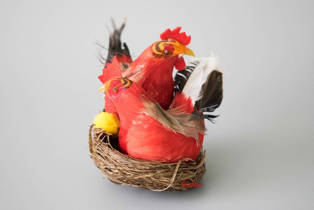 Петушок и курочка в гнезде ДП53, 3 цвета, Декор для флористики, Москва,  Фото №1