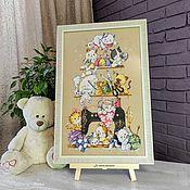Картины и панно handmade. Livemaster - original item Picture embroidered cross in the nursery Funny kittens. Handmade.