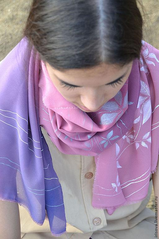 """Шарфы и шарфики ручной работы. Ярмарка Мастеров - ручная работа. Купить Шарф """"Лавандовый аромат"""". Handmade. Розовый цвет"""