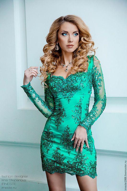 """Платья ручной работы. Ярмарка Мастеров - ручная работа. Купить Вечернее платье """"Emerald"""". Handmade. Тёмно-зелёный, платье из кружева"""