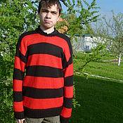 Одежда ручной работы. Ярмарка Мастеров - ручная работа вязаный мужской полосатый  свитер Курта Кобейна. Handmade.