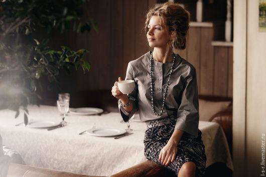 Блузки ручной работы. Ярмарка Мастеров - ручная работа. Купить Серая блузка три четверти. Handmade. Темно-серый, lessaisonsrusses