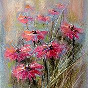 Картины и панно handmade. Livemaster - original item Painting pastel SKETCH WITH PINK FLOWERS. Handmade.