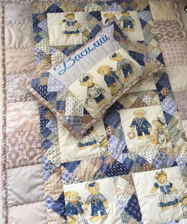 Текстиль, ковры ручной работы. Ярмарка Мастеров - ручная работа. Купить Морские мишки , комплект именной. Handmade. Печворк