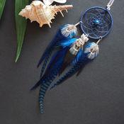 Ночная стража леса- синий кулон ловец снов с перьями в стиле бохо