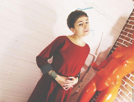 Платья ручной работы. Ярмарка Мастеров - ручная работа. Купить сукно/вариант. Handmade. Ярко-красный, теплое платье, платье, сукно