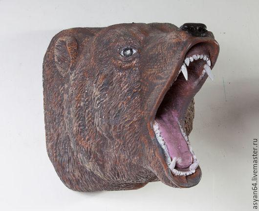 Интерьерные  маски ручной работы. Ярмарка Мастеров - ручная работа. Купить Медведь на стену. Handmade. Коричневый, дерево