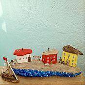 Для дома и интерьера handmade. Livemaster - original item Driftwood houses a Coastal village with a sailboat. Handmade.