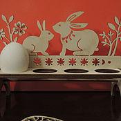 Подарки к праздникам ручной работы. Ярмарка Мастеров - ручная работа подставка зайцы на 8 яиц. Handmade.