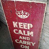 Картины и панно ручной работы. Ярмарка Мастеров - ручная работа Панно деревянное 35х80_KEEP CALM_RED. Handmade.